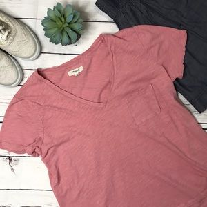 {Madewell} sz Med dusty rose slub knit pocket tee